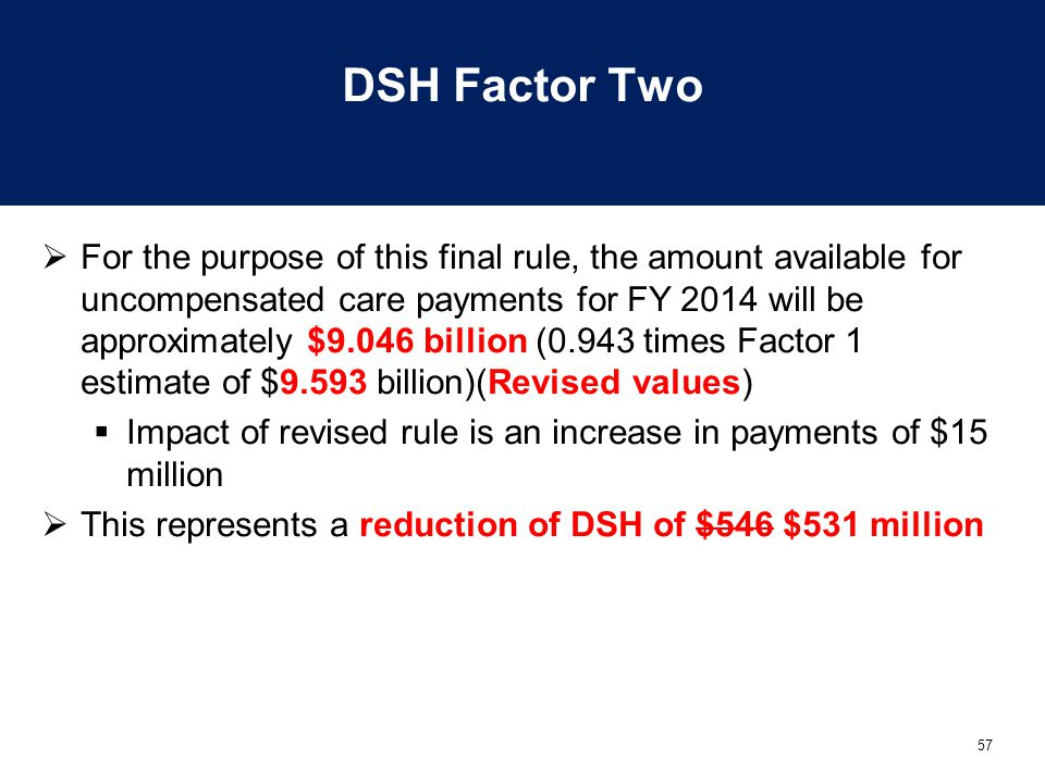 57 DSH Factor Two  For the purpose of this final rule, the amount available for uncompensated care payments for FY 2014 will be approximately $9.046 billion (0.943 times Factor 1 estimate of $9.593 billion)(Revised values)  Impact of revised rule is an increase in payments of $15 million  This represents a reduction of DSH of $546 $531 million