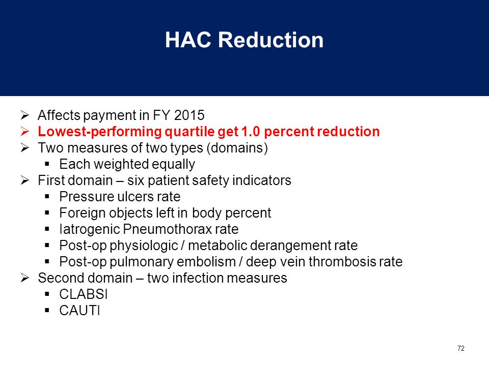 72 HAC Reduction  Affects payment in FY 2015  Lowest-performing quartile get 1.0 percent reduction  Two measures of two types (domains)  Each weighted equally  First domain – six patient safety indicators  Pressure ulcers rate  Foreign objects left in body percent  Iatrogenic Pneumothorax rate  Post-op physiologic / metabolic derangement rate  Post-op pulmonary embolism / deep vein thrombosis rate  Second domain – two infection measures  CLABSI  CAUTI