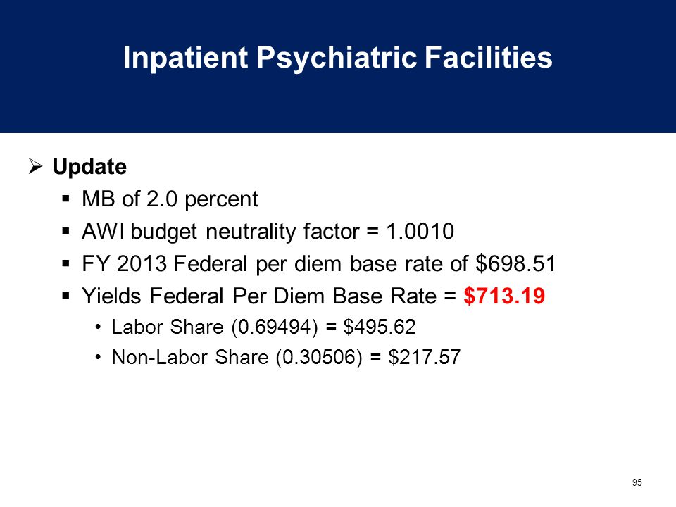 95 Inpatient Psychiatric Facilities  Update  MB of 2.0 percent  AWI budget neutrality factor = 1.0010  FY 2013 Federal per diem base rate of $698.51  Yields Federal Per Diem Base Rate = $713.19 Labor Share (0.69494) = $495.62 Non-Labor Share (0.30506) = $217.57