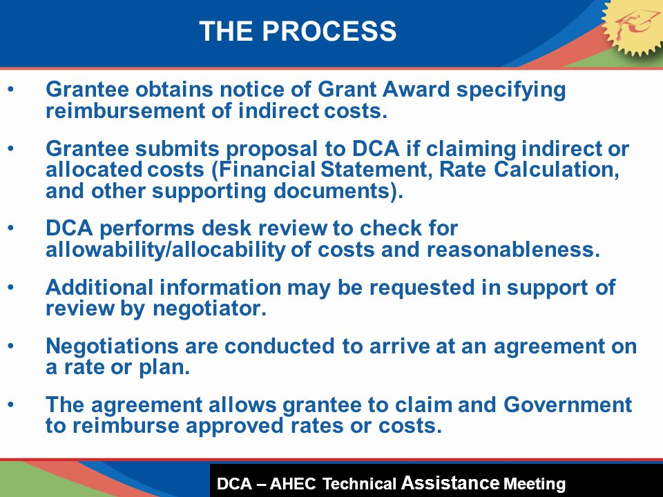 THE PROCESS Grantee obtains notice of Grant Award specifying reimbursement of indirect costs. Grantee submits proposal to DCA if claiming indirect or