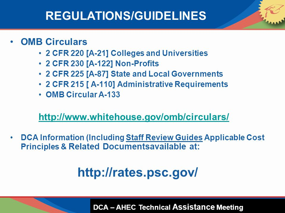REGULATIONS/GUIDELINES OMB Circulars 2 CFR 220 [A-21] Colleges and Universities 2 CFR 230 [A-122] Non-Profits 2 CFR 225 [A-87] State and Local Governm