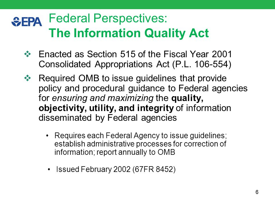 Federal EA Framework 7 Mapping EPA Data to the Enterprise Architecture Framework.