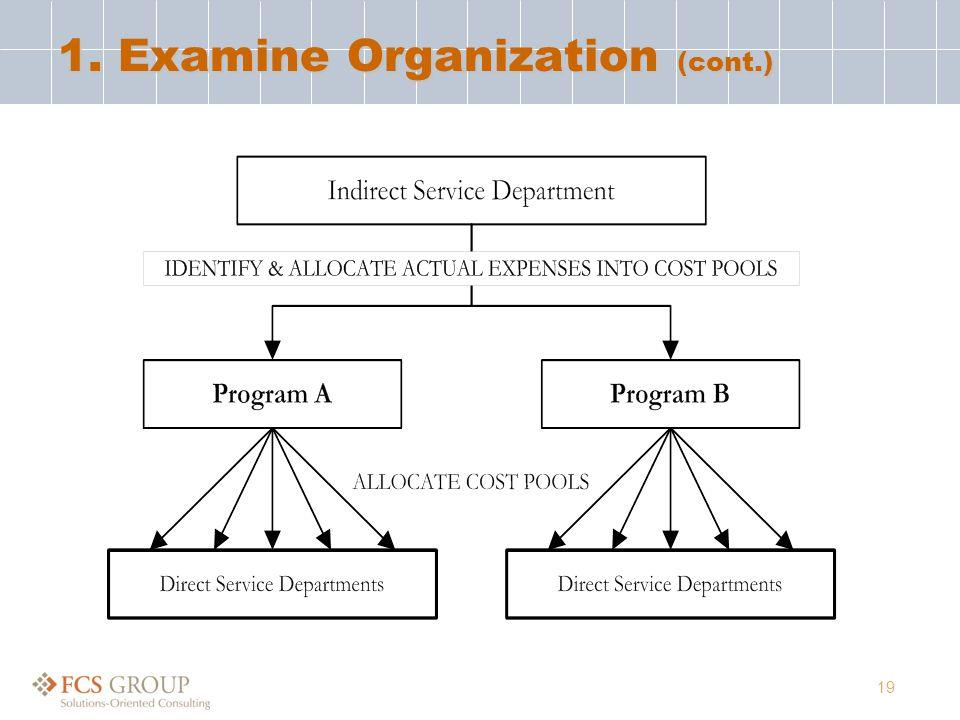19 1. Examine Organization (cont.)