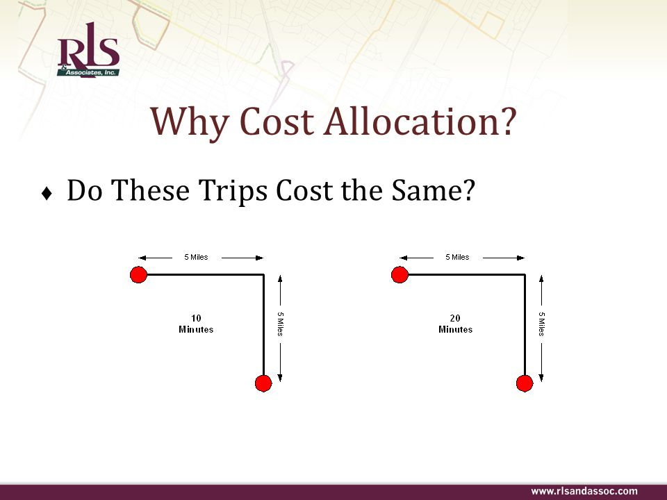 ♦ Do These Trips Cost the Same? Why Cost Allocation?