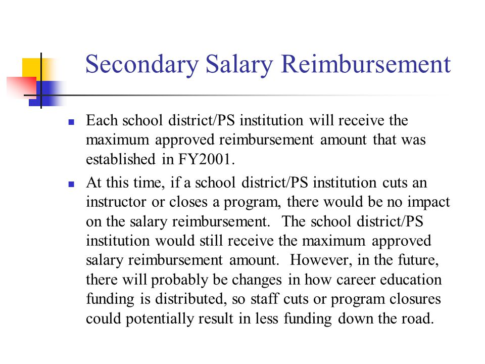 Secondary Salary Reimbursement Each school district/PS institution will receive the maximum approved reimbursement amount that was established in FY2001.