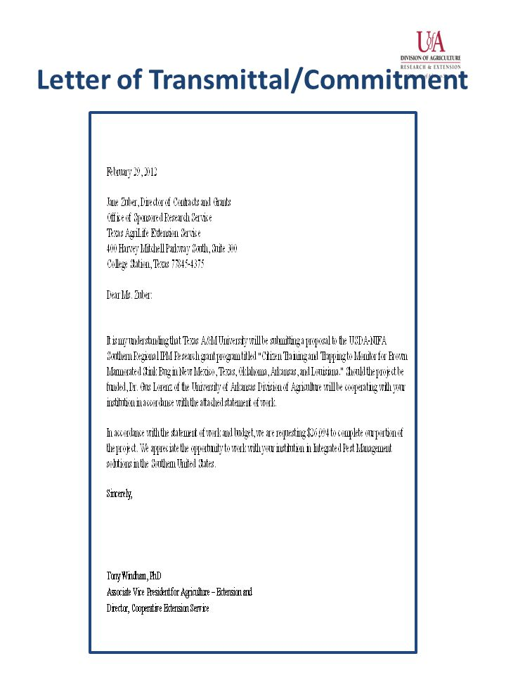 Letter of Transmittal/Commitment