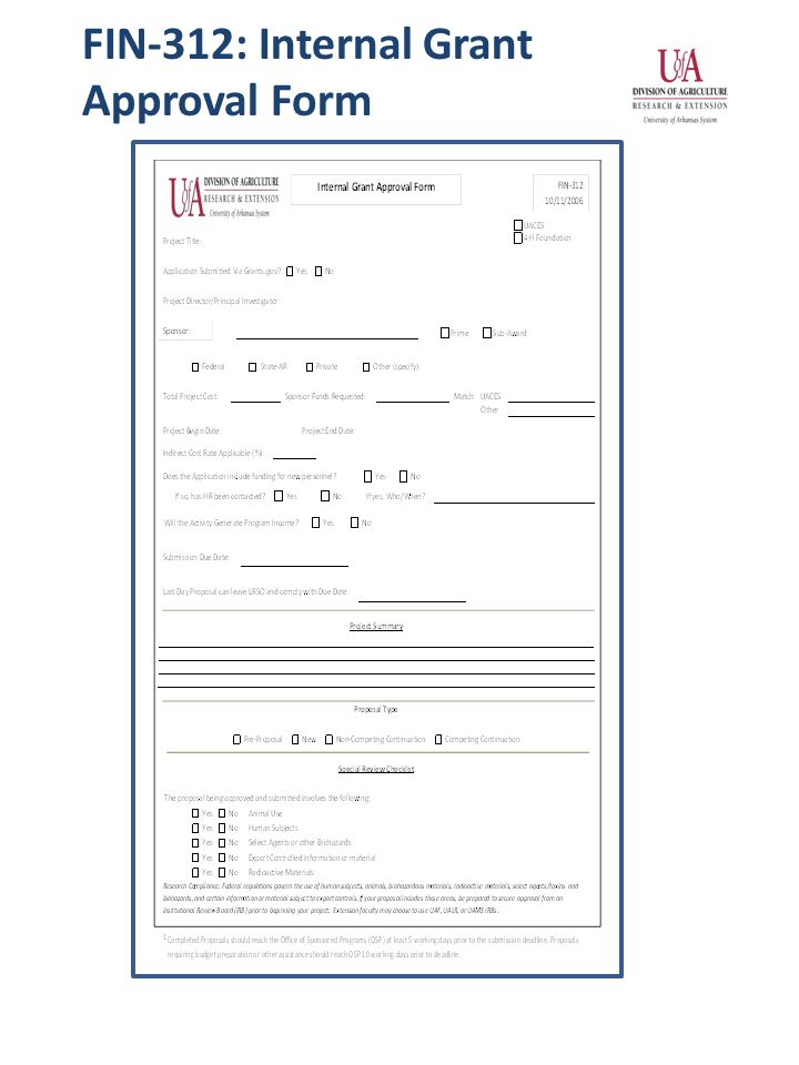 FIN-312: Internal Grant Approval Form
