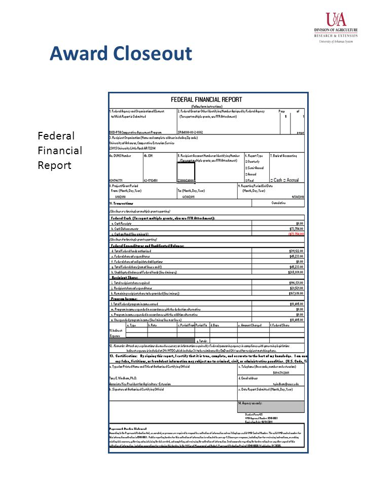 Award Closeout Federal Financial Report