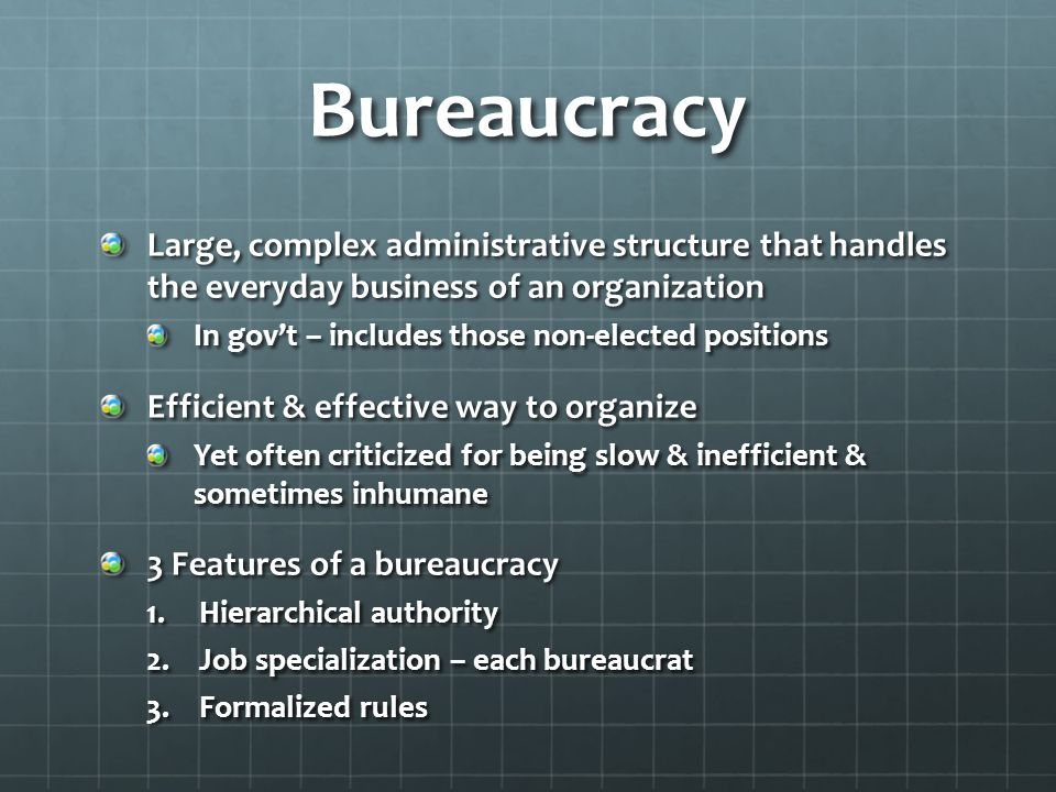 Federal Bureaucracy Today: 4.1 million work for the federal gov't (2013) Most in the executive branch Divided into three areas in Executive Branch Executive Office of the President Executive Departments – 15 cabinet departments Independent Agencies (See page 429) Remember – Congress & federal court system have their own bureaucracies