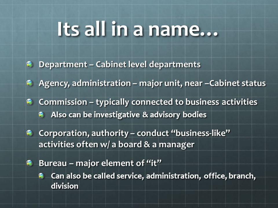 1 - Independent Executive Agencies Include most of the non-Cabinet agencies Include very large near-Cabinet status ones General Services Adm.