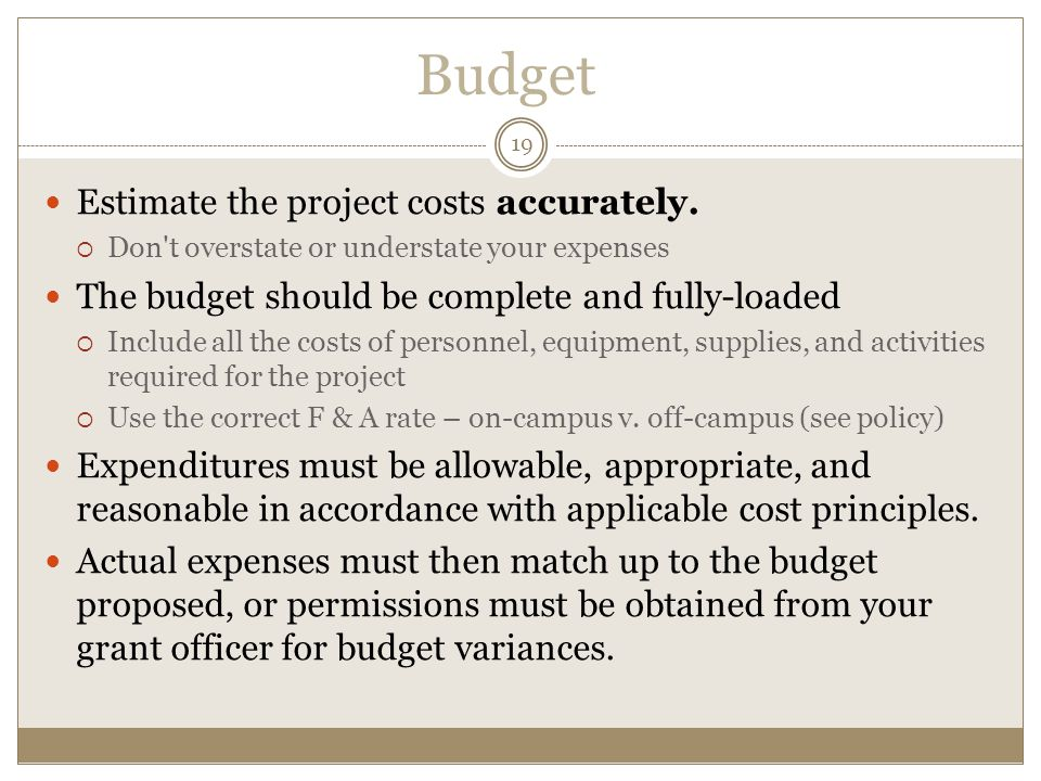 Budget 19 Estimate the project costs accurately.
