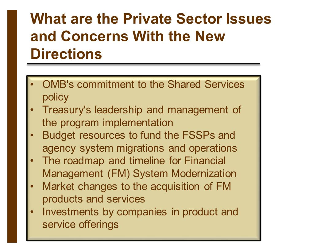 What are the Private Sector Issues and Concerns With the New Directions OMB's commitment to the Shared Services policy Treasury's leadership and manag