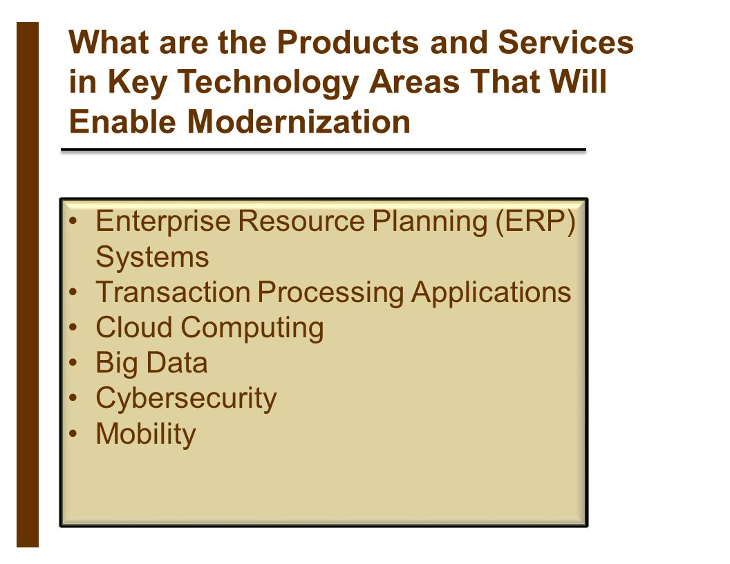 What are the Products and Services in Key Technology Areas That Will Enable Modernization Enterprise Resource Planning (ERP) Systems Transaction Proce