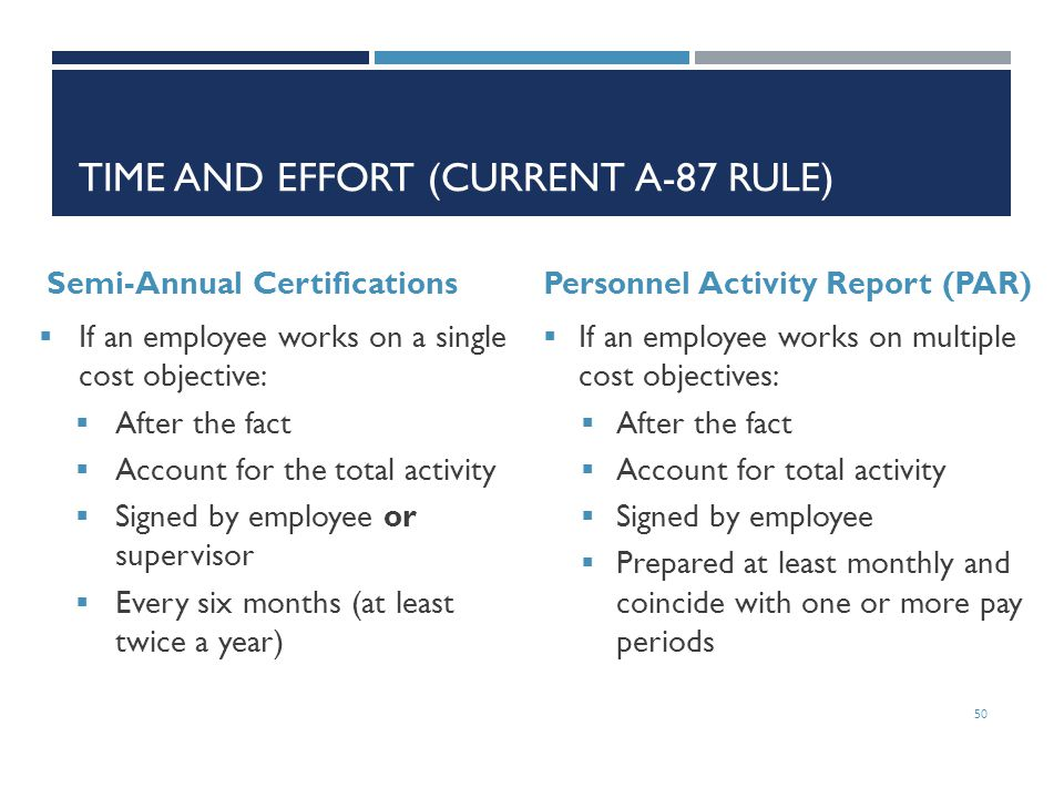 TIME AND EFFORT (CURRENT A-87 RULE) Semi-Annual Certifications  If an employee works on a single cost objective:  After the fact  Account for the t