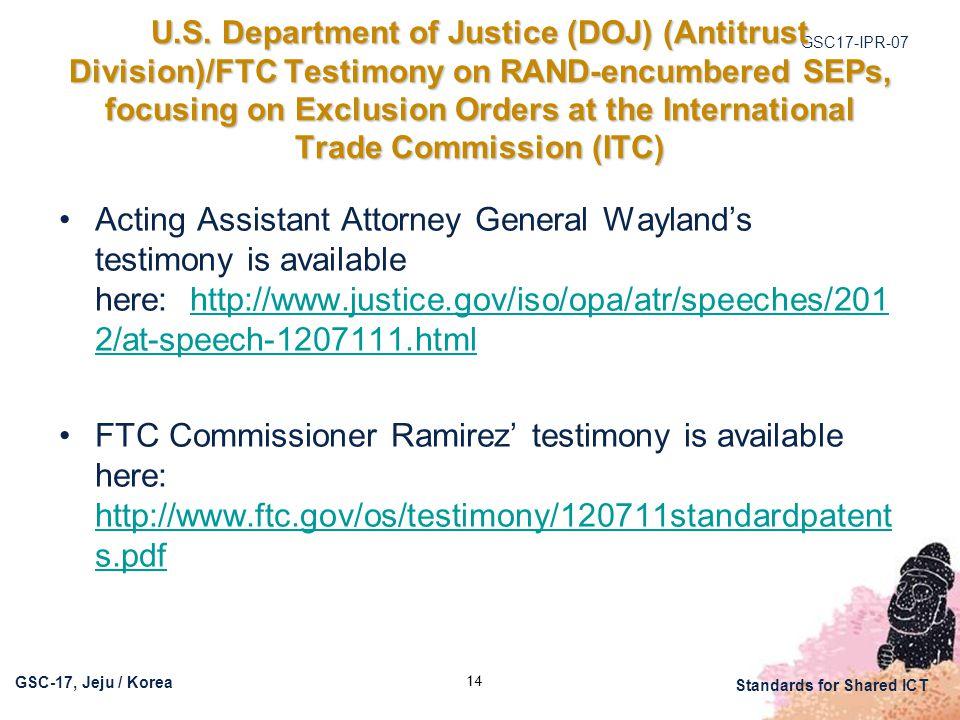GSC17-IPR-07 GSC-17, Jeju / Korea Standards for Shared ICT U.S.
