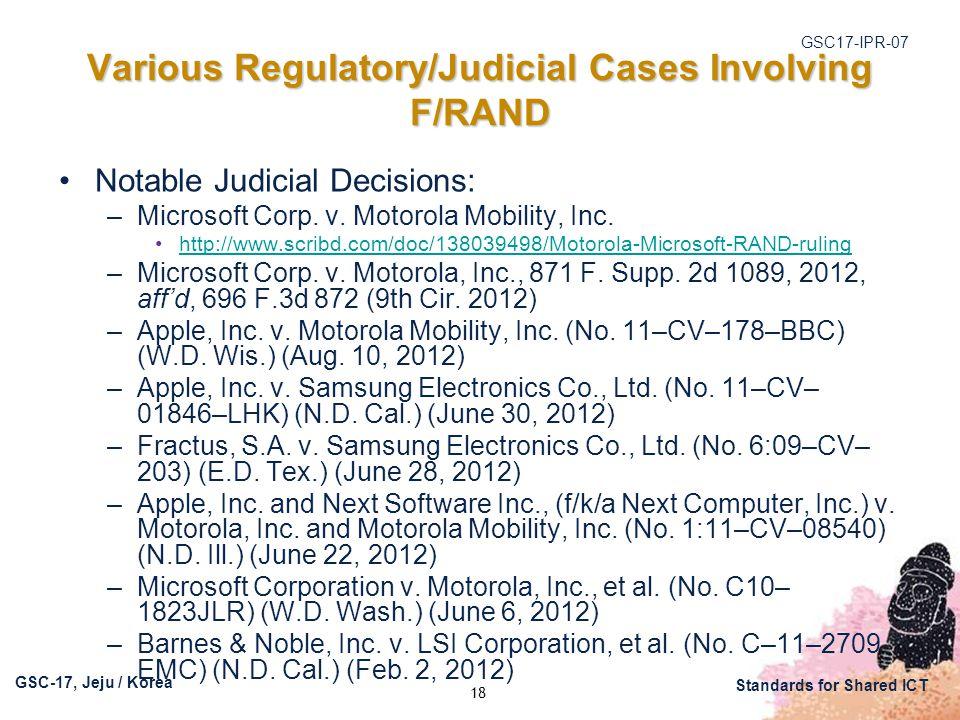 GSC17-IPR-07 GSC-17, Jeju / Korea Standards for Shared ICT Various Regulatory/Judicial Cases Involving F/RAND Notable Judicial Decisions: –Microsoft Corp.