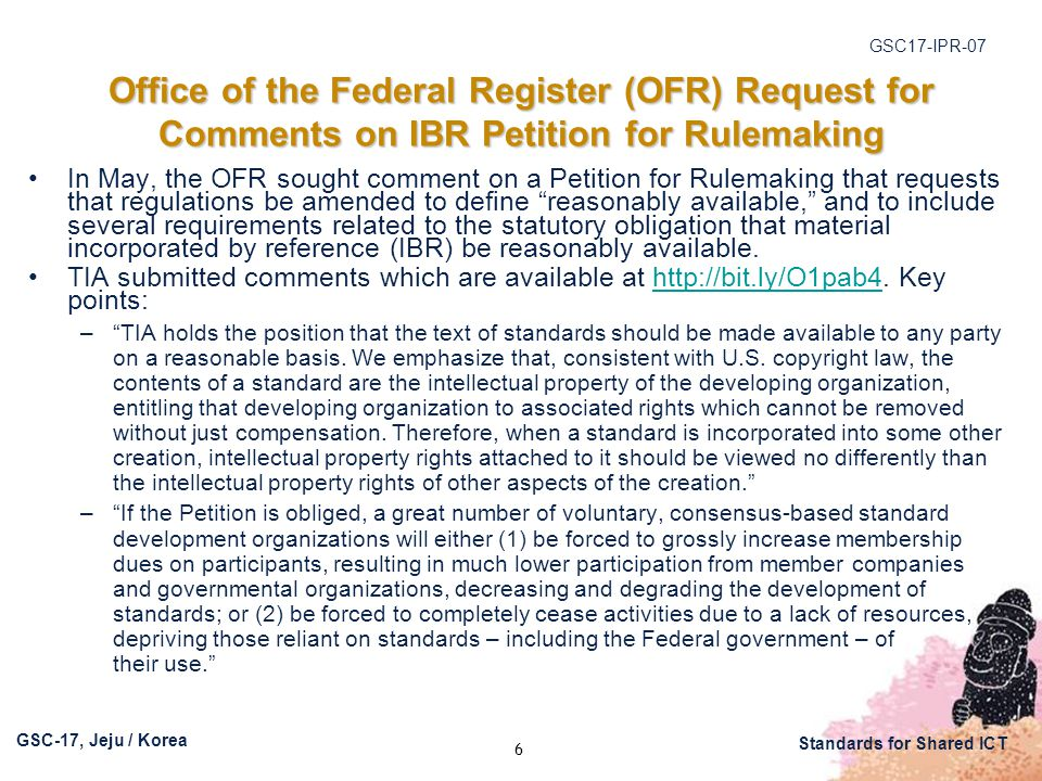 GSC17-IPR-07 GSC-17, Jeju / Korea Standards for Shared ICT DOJ/USPTO Policy Statement on Remedies for Standards-Essential Patents Subject to Voluntary F/RAND Commitments Excerpted statements continued: – Although we recommend caution in granting injunctions or exclusion orders based on infringement of voluntarily F/RAND-encumbered patents essential to a standard, DOJ and USPTO strongly support the protection of intellectual property rights and believe that a patent holder who makes such a F/RAND commitment should receive appropriate compensation that reflects the value of the technology contributed to the standard. – An exclusion order may still be an appropriate remedy in some circumstances, such as where the putative licensee is unable or refuses to take a F/RAND license and is acting outside the scope of the patent holder's commitment to license on F/RAND terms. For example, if a putative licensee refuses to pay what has been determined to be a F/RAND royalty, or refuses to engage in a negotiation to determine F/RAND terms, an exclusion order could be appropriate. Such a refusal could take the form of a constructive refusal to negotiate, such as by insisting on terms clearly outside the bounds of what could reasonably be considered to be F/RAND terms in an attempt to evade the putative licensee's obligation to fairly compensate the patent holder. – An exclusion order also could be appropriate if a putative licensee is not subject to the jurisdiction of a court that could award damages. – This list is not an exhaustive one. (emphasis added) – [D]eterminations on the appropriate remedy in cases involving F/RAND- encumbered, standards-essential patents should be made against the backdrop of promoting both appropriate compensation to patent holders and strong incentives for innovators to participate in standards-setting activities. 17