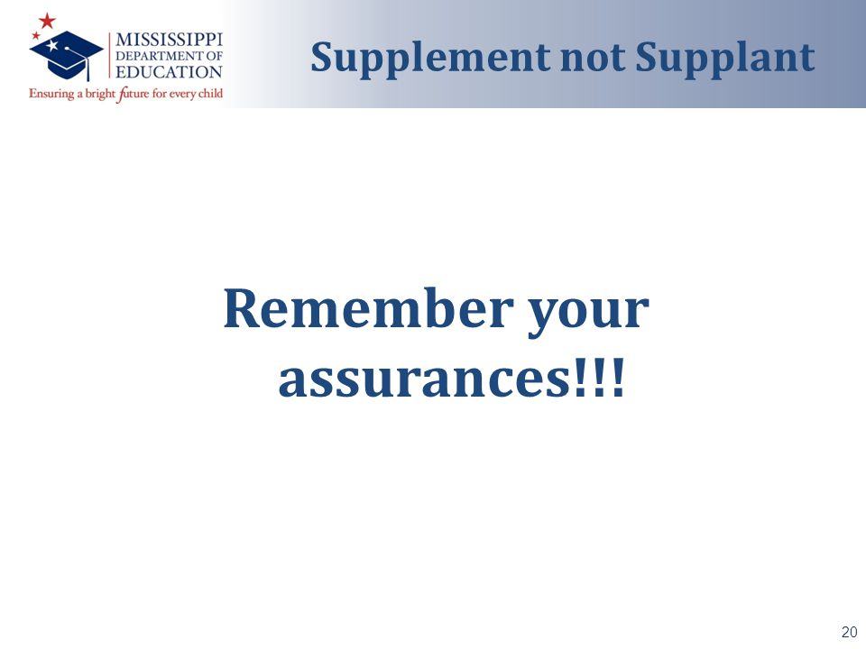 Remember your assurances!!! 20 Supplement not Supplant