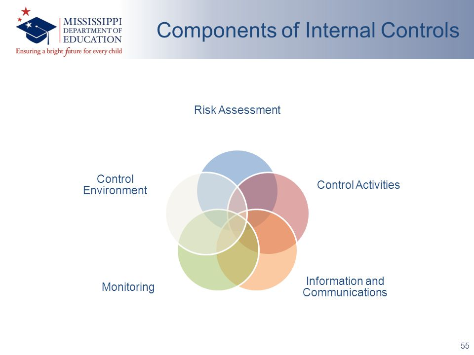 Risk Assessment Control Activities Information and Communications Monitoring Control Environment 55 Components of Internal Controls