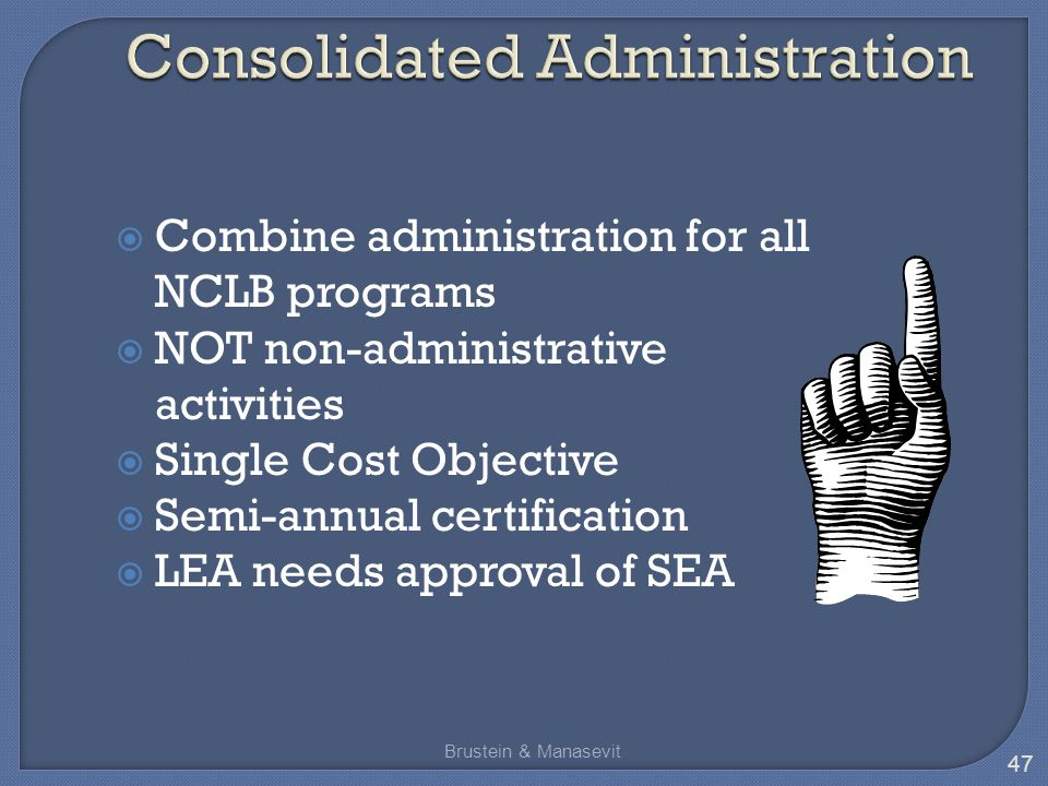  Combine administration for all NCLB programs  NOT non-administrative activities  Single Cost Objective  Semi-annual certification  LEA needs approval of SEA 47 Brustein & Manasevit