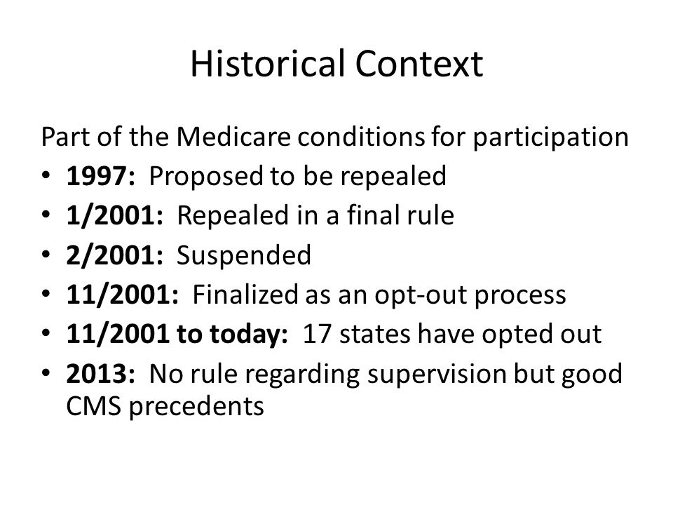 Historical Context Part of the Medicare conditions for participation 1997: Proposed to be repealed 1/2001: Repealed in a final rule 2/2001: Suspended