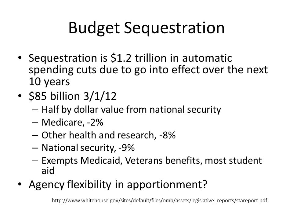 Budget Sequestration Sequestration is $1.2 trillion in automatic spending cuts due to go into effect over the next 10 years $85 billion 3/1/12 – Half