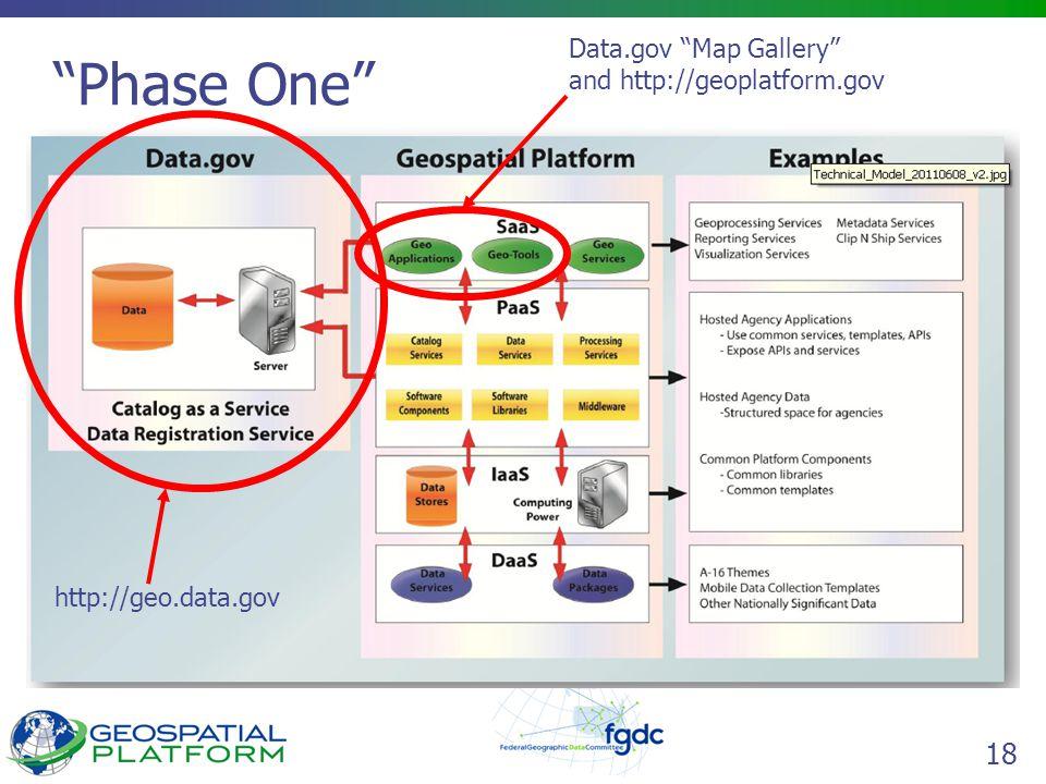 """18 """"Phase One"""" http://geo.data.gov Data.gov """"Map Gallery"""" and http://geoplatform.gov"""