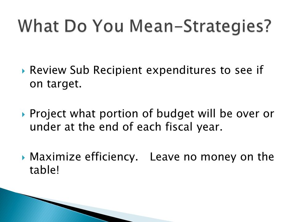  Review Sub Recipient expenditures to see if on target.