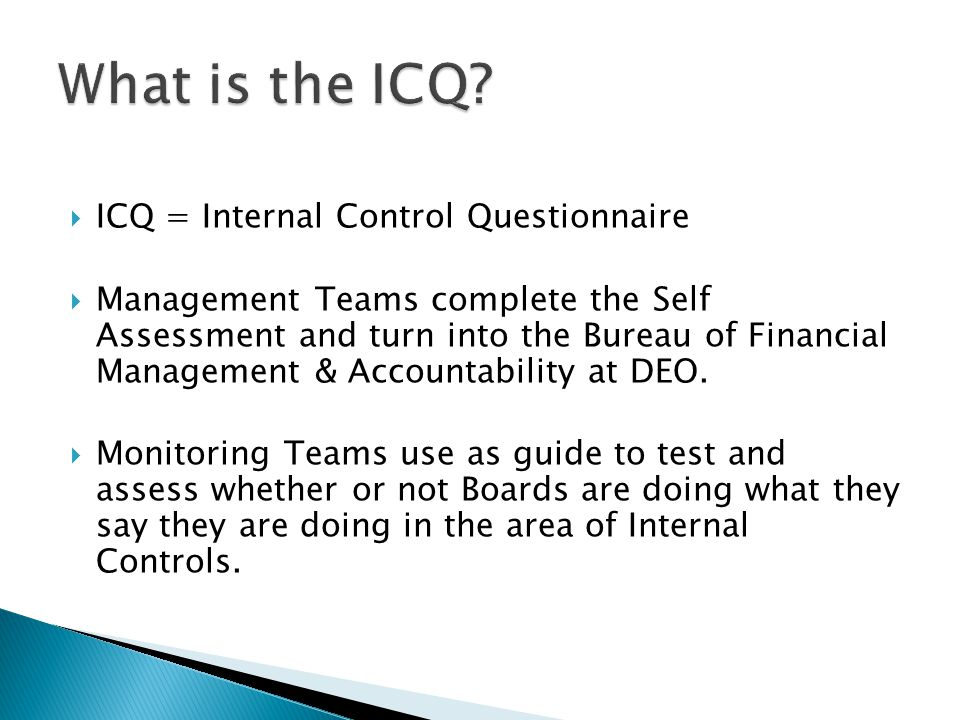  ICQ = Internal Control Questionnaire  Management Teams complete the Self Assessment and turn into the Bureau of Financial Management & Accountability at DEO.