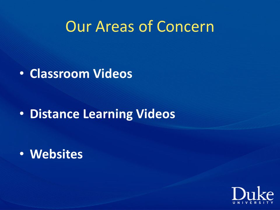 Our Areas of Concern Classroom Videos Distance Learning Videos Websites