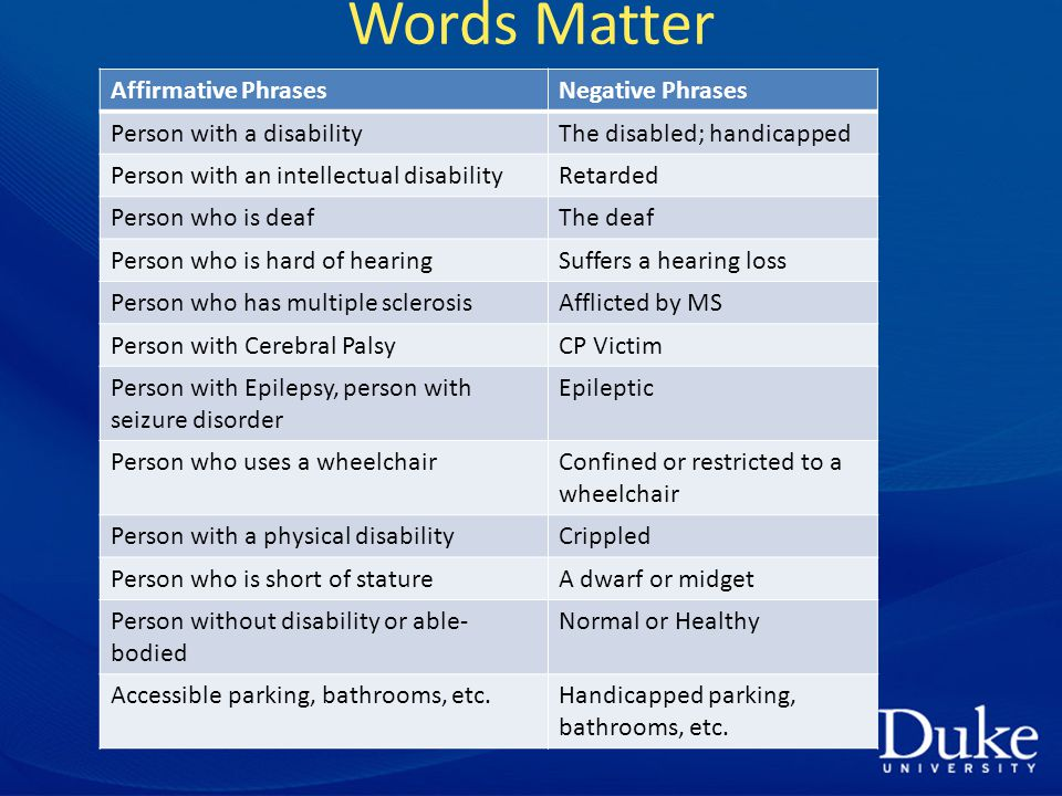 Words Matter Affirmative PhrasesNegative Phrases Person with a disabilityThe disabled; handicapped Person with an intellectual disabilityRetarded Person who is deafThe deaf Person who is hard of hearingSuffers a hearing loss Person who has multiple sclerosisAfflicted by MS Person with Cerebral PalsyCP Victim Person with Epilepsy, person with seizure disorder Epileptic Person who uses a wheelchairConfined or restricted to a wheelchair Person with a physical disabilityCrippled Person who is short of statureA dwarf or midget Person without disability or able- bodied Normal or Healthy Accessible parking, bathrooms, etc.Handicapped parking, bathrooms, etc.