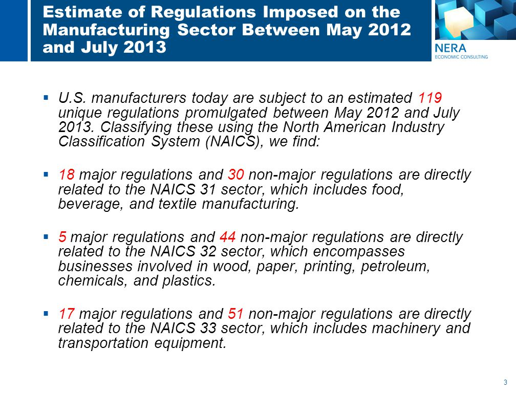 3 Estimate of Regulations Imposed on the Manufacturing Sector Between May 2012 and July 2013  U.S.