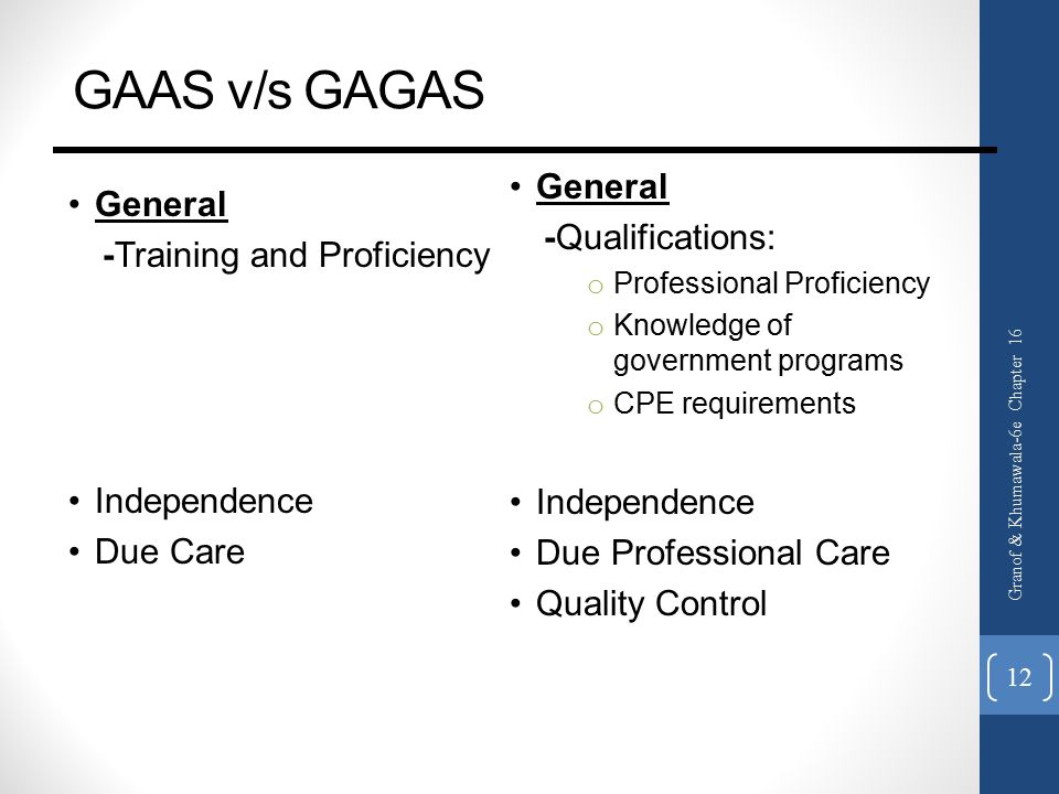 GAAS v/s GAGAS General -Training and Proficiency Independence Due Care General -Qualifications: o Professional Proficiency o Knowledge of government programs o CPE requirements Independence Due Professional Care Quality Control Granof & Khumawala-6e Chapter 16 12