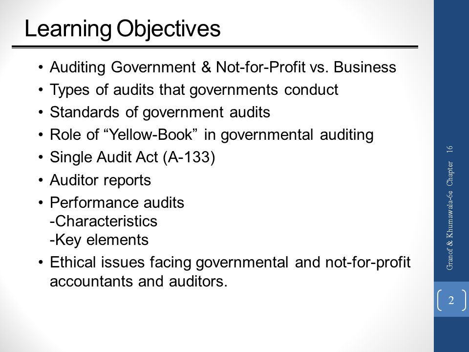 Learning Objectives Auditing Government & Not-for-Profit vs.