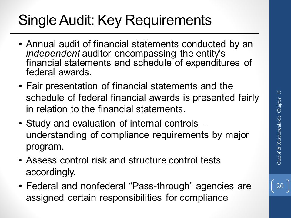 Single Audit: Key Requirements Annual audit of financial statements conducted by an independent auditor encompassing the entity's financial statements and schedule of expenditures of federal awards.