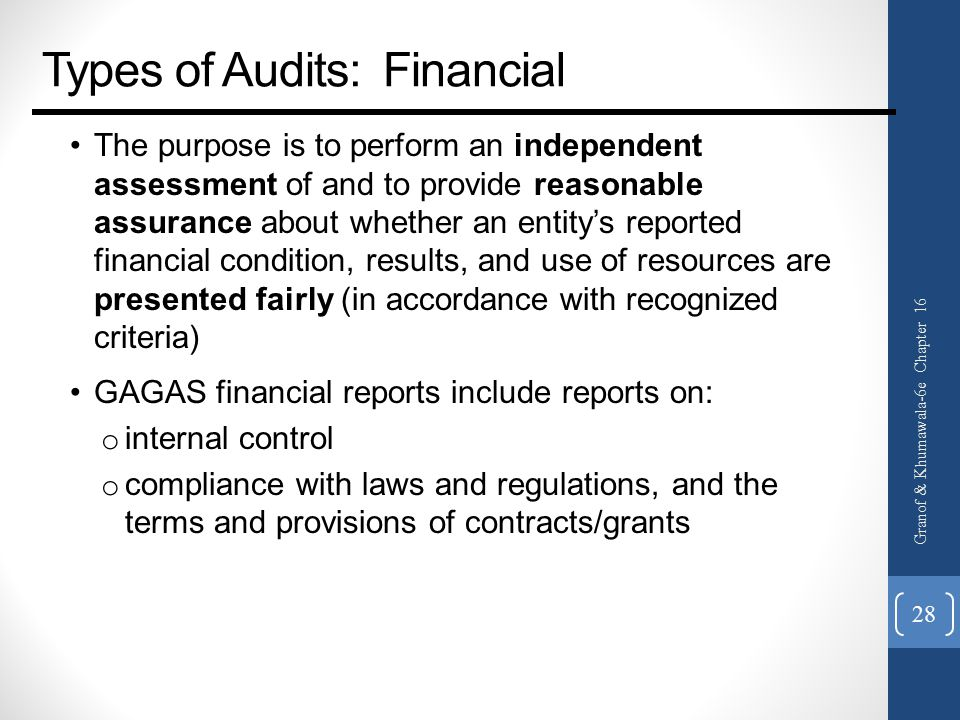 Types of Audits: Financial The purpose is to perform an independent assessment of and to provide reasonable assurance about whether an entity's reported financial condition, results, and use of resources are presented fairly (in accordance with recognized criteria) GAGAS financial reports include reports on: o internal control o compliance with laws and regulations, and the terms and provisions of contracts/grants Granof & Khumawala-6e Chapter 16 28