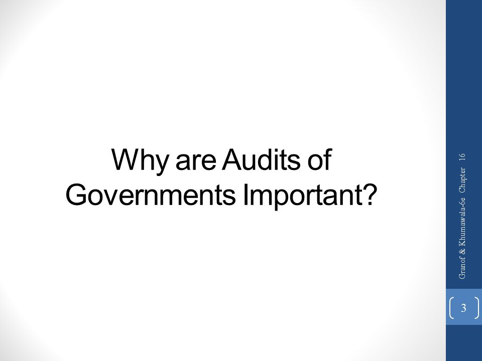 Why are Audits of Governments Important? Granof & Khumawala-6e Chapter 16 3