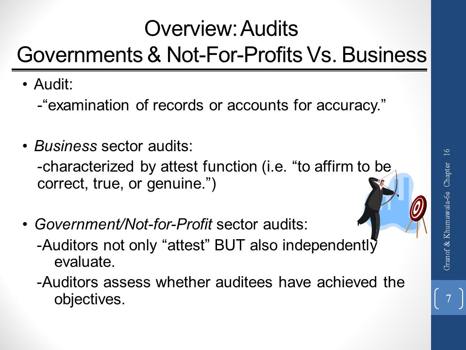 Overview: Audits Governments & Not-For-Profits Vs.