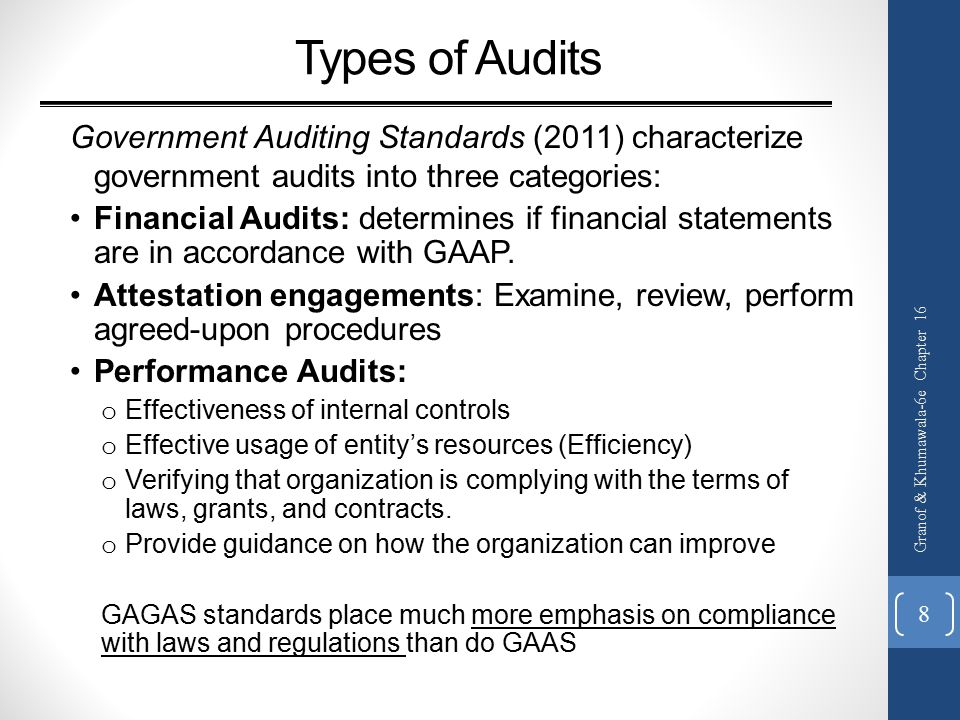 Types of Audits Government Auditing Standards (2011) characterize government audits into three categories: Financial Audits: determines if financial statements are in accordance with GAAP.