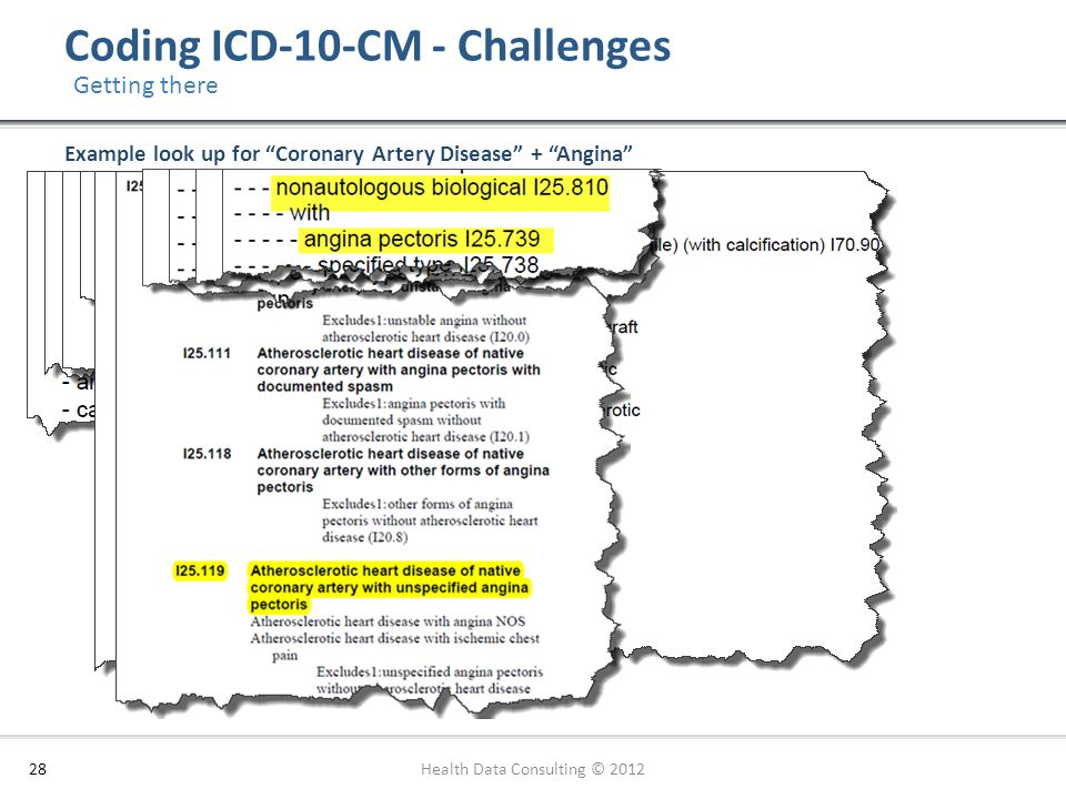 """Coding ICD-10-CM - Challenges 28 Getting there Example look up for """"Coronary Artery Disease"""" + """"Angina"""" Health Data Consulting © 2012"""