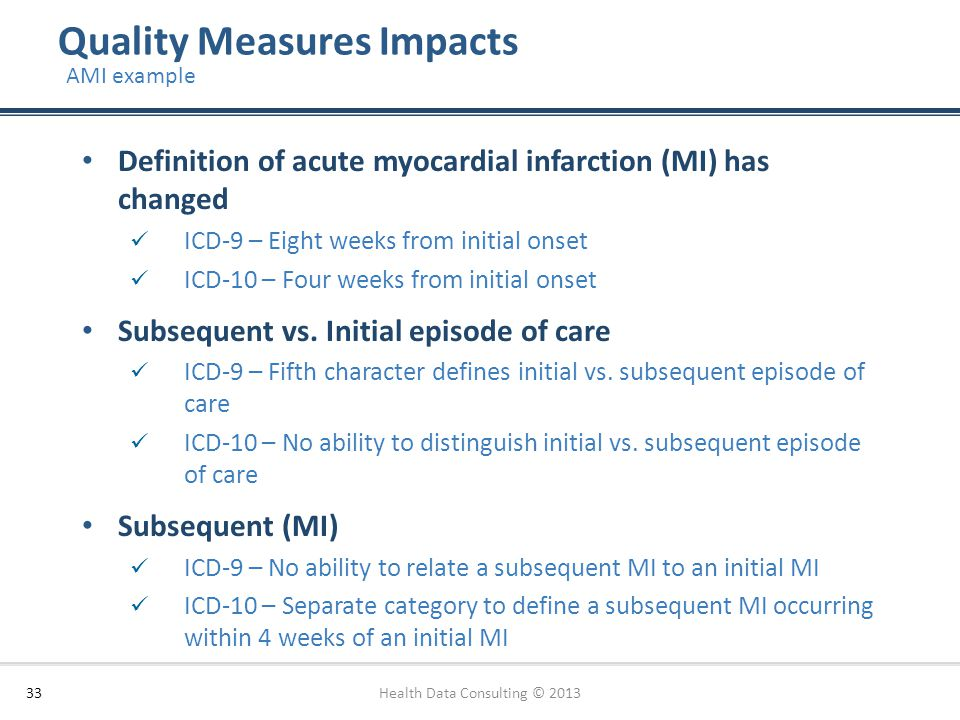Quality Measures Impacts Health Data Consulting © 201333 AMI example Definition of acute myocardial infarction (MI) has changed ICD-9 – Eight weeks fr