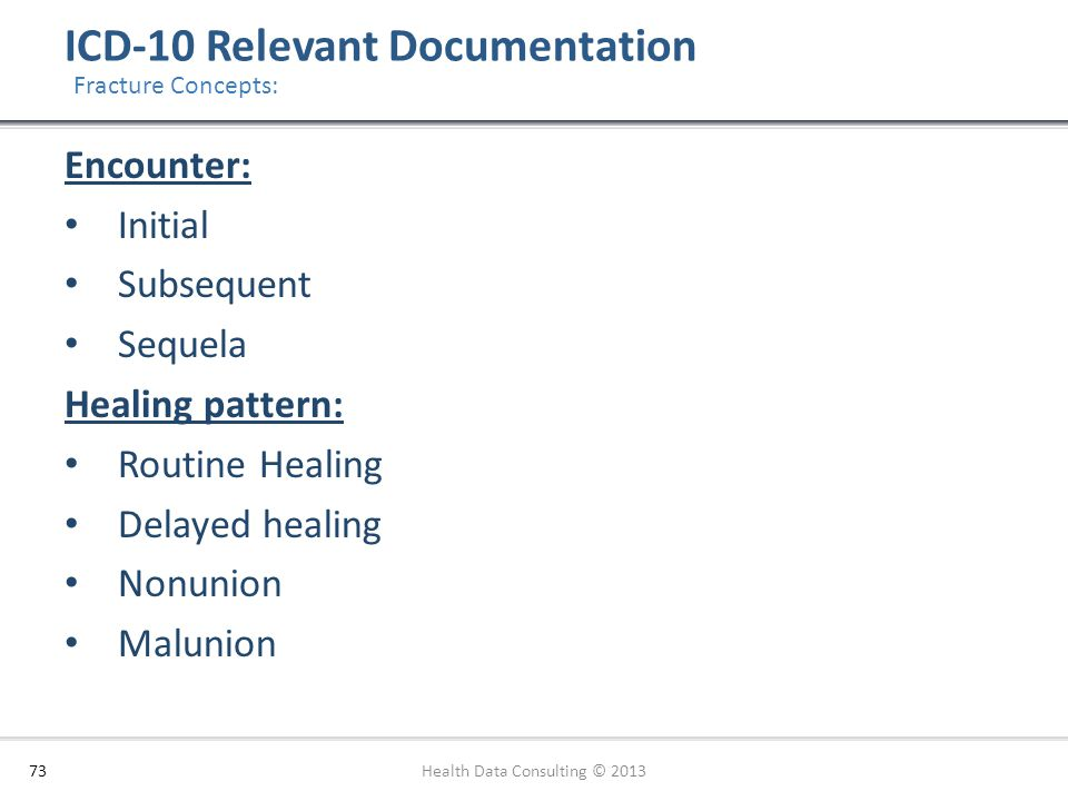 ICD-10 Relevant Documentation 73 Fracture Concepts: Encounter: Initial Subsequent Sequela Healing pattern: Routine Healing Delayed healing Nonunion Ma
