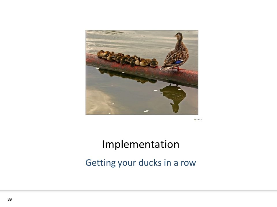 Implementation 89 Getting your ducks in a row