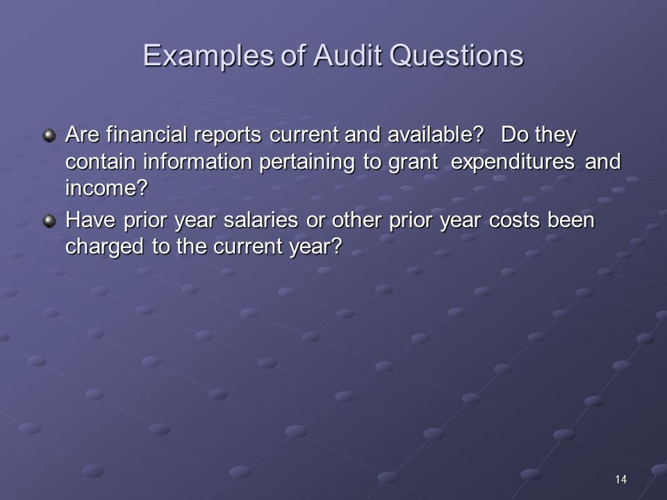 14 Examples of Audit Questions Are financial reports current and available.