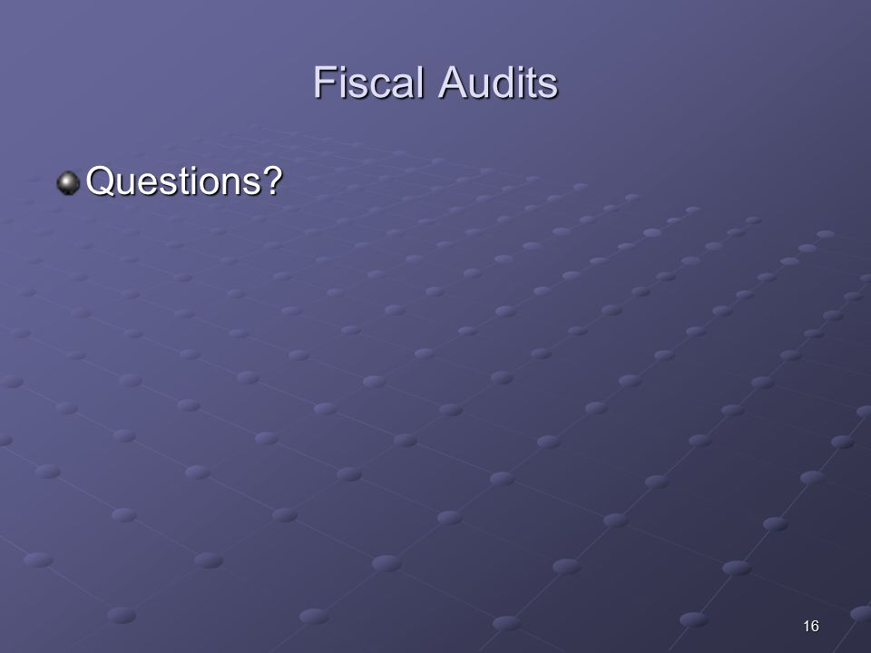 16 Fiscal Audits Questions