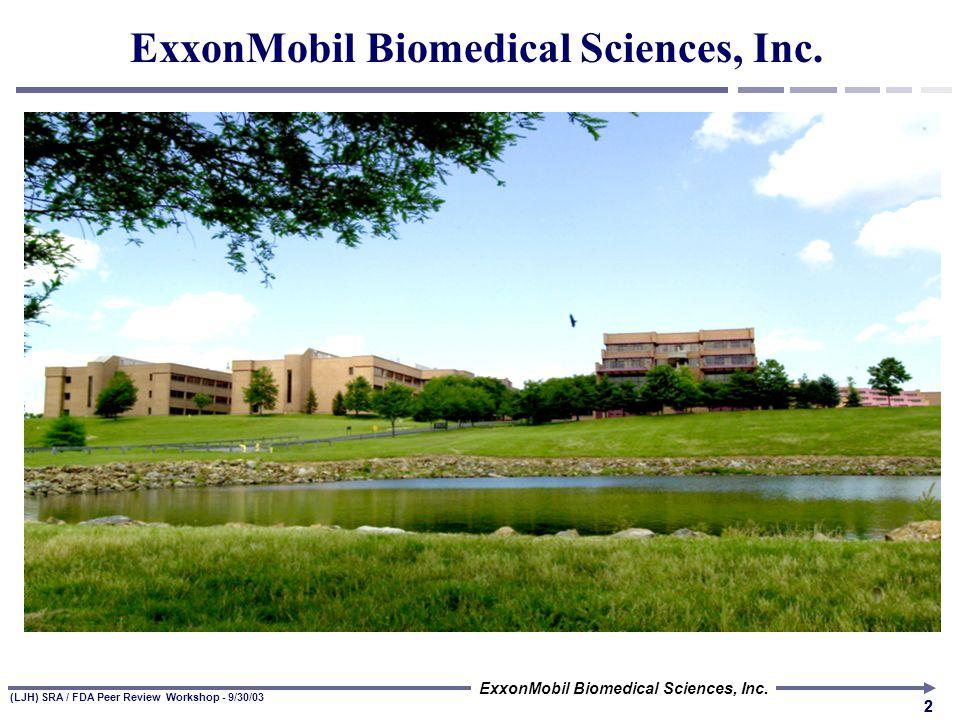 ExxonMobil Biomedical Sciences, Inc. (LJH) SRA / FDA Peer Review Workshop - 9/30/03 Peer Review: Challenges Raised by OMB's Draft Guidelines Leslie Hu