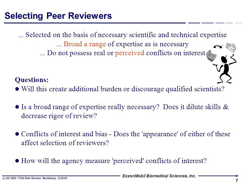 (LJH) SRA / FDA Peer Review Workshop - 9/30/03 ExxonMobil Biomedical Sciences, Inc.