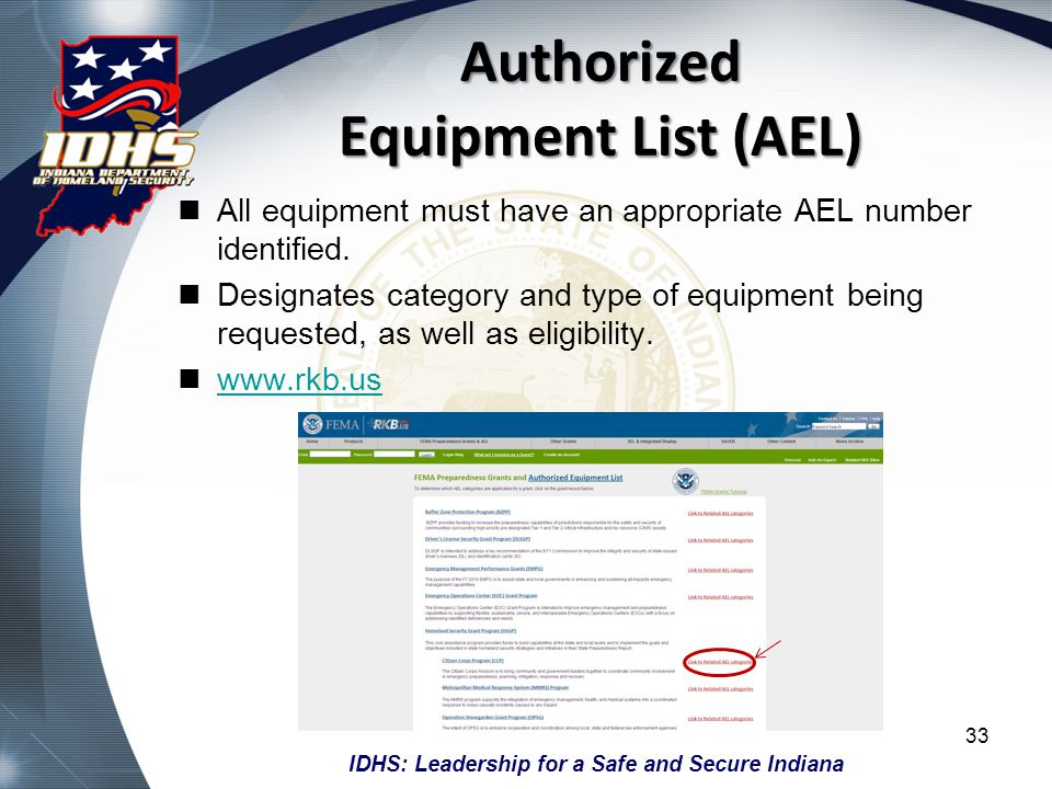 IDHS: Leadership for a Safe and Secure Indiana Authorized Equipment List (AEL) All equipment must have an appropriate AEL number identified. Designate