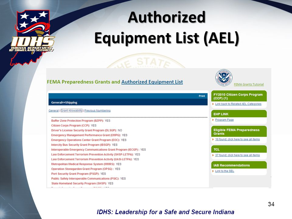 IDHS: Leadership for a Safe and Secure Indiana Authorized Equipment List (AEL) 34