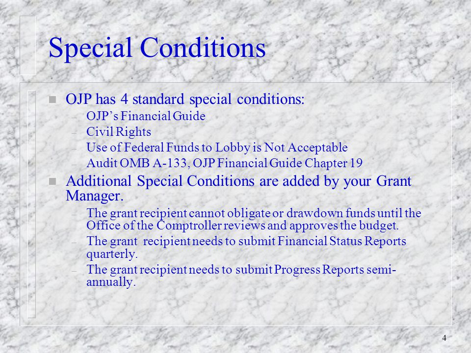 4 Special Conditions n OJP has 4 standard special conditions: – OJP's Financial Guide – Civil Rights – Use of Federal Funds to Lobby is Not Acceptable – Audit OMB A-133, OJP Financial Guide Chapter 19 n Additional Special Conditions are added by your Grant Manager.